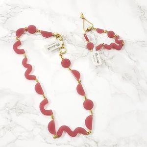 Madewell Set of Necklace & Bracelet Shape Pink